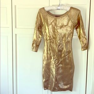 Bebe gold bodycon cocktail dress S/P